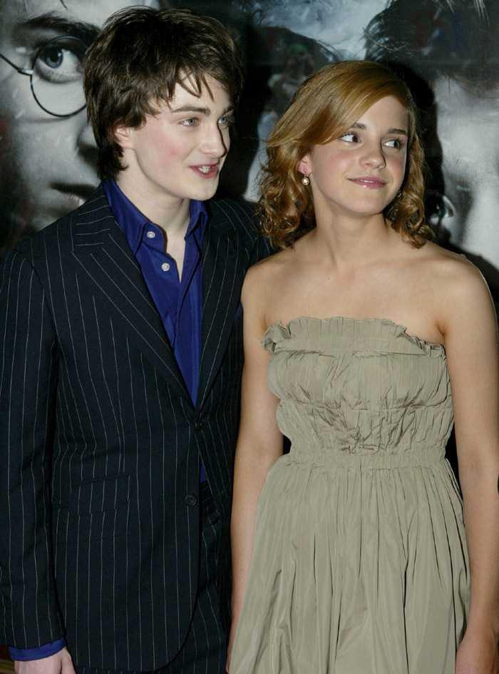 Эмма Ватсон (Уотсон) и Дэн Рэдклифф на презентации фильма «Гарри Поттер и узник Азкабана»