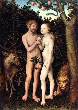 Кранах, Лукас Старший (1472 - 1553) Адам и Ева 1531 Государственный музей (Берлин)